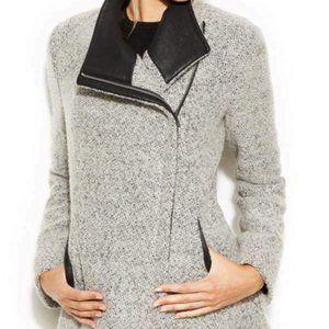 CALVIN KLEIN Women Asymmetric Zip Wool Coat